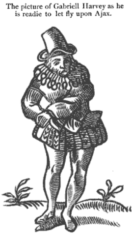 Caricature of Gabriel Harvey from Haue with you to Saffron-walden. Or, Gabriell Harueys hunt is vp (1596), by Thomas Nashe