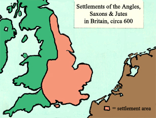 settlements of the Angles, Saxons and Jutes in Britain, circa 600