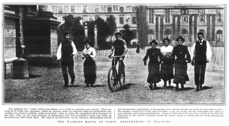 The walking mania in Paris - dressmakers in training - The Graphic (London), Saturday 24th October 1903