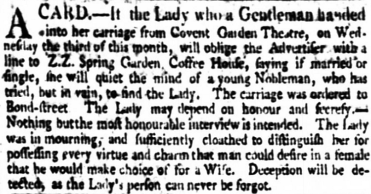 agony column - The Times - 18 December 1800