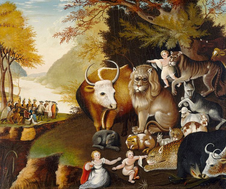 one-of-the-versions-of-the-peaceable-kingdom-circa-1834-by-edward-hicks