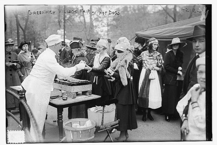 Greenwich Village fair - hot dogs - June 1917