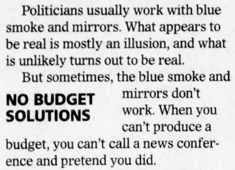 blue smoke and mirrors - The News Journal (Wilmington, Delaware) - 14 May 2011