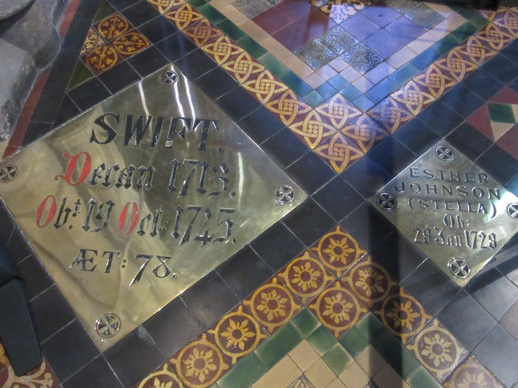 plaques marking the graves of Jonathan Swift and Esther Johnson in St Patrick_s Cathedral, Dublin