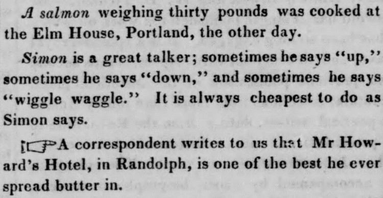 Simon says - Boston Morning Post - 25 April 1842