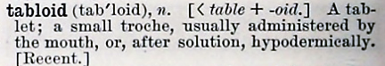 tabloid - Century Dictionary - 1895