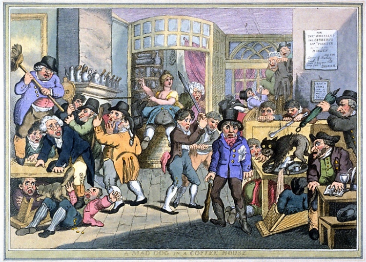 A Mad Dog in a Coffee House - Thomas Rowlandson