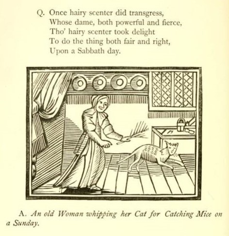 An old Woman whipping her Cat for Catching Mice on a Sunday - Chap-books of the eighteenth century - 1882