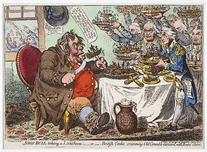 John Bull taking a Luncheon—or—British Cooks, cramming Old Grumble-Gizzard, with Bonne-Chère