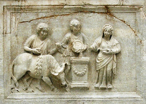 priestess presiding over a sacrifice (Roman - Sanctuary of Diana, Nemi, 200 CE)