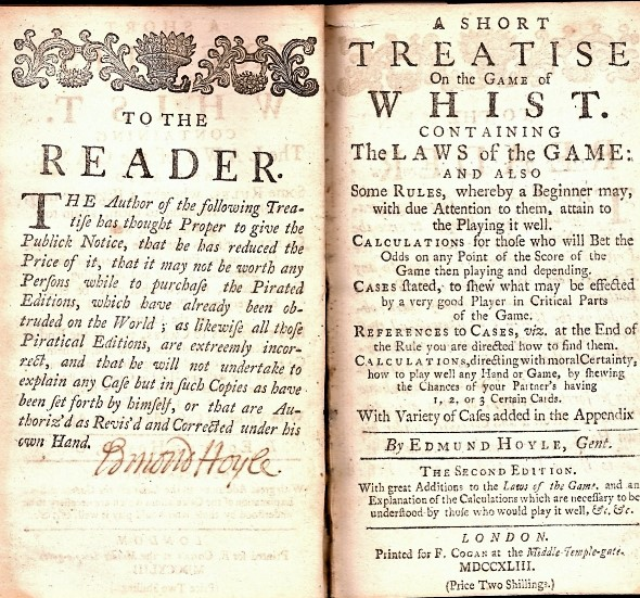 A Short Treatise on the Game of Whist (1743) - Edmond Hoyle