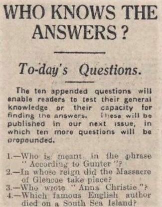according to Gunter - Western Daily Press (Bristol) 14 October 1927