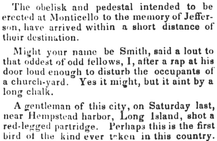 by a long chalk - Boston Morning Post - 30 November 1833