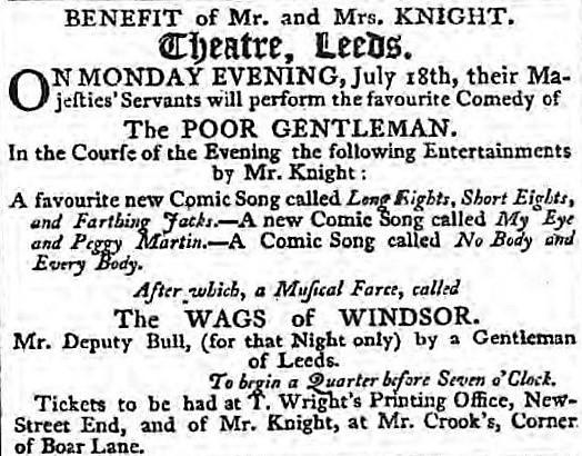 My Eye and Peggy Martin - Leeds Intelligencer - 11 July 1803