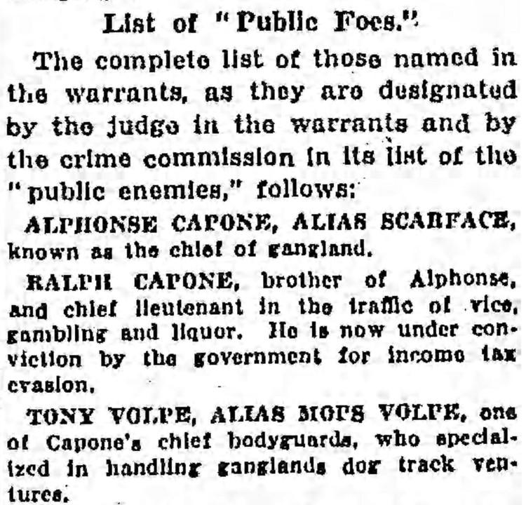 public enemies - Chicago Tribune - 17 September 1930