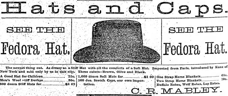 fedora (hat) - Detroit Free Press - 5 Nov. 1883