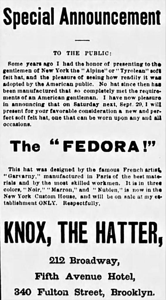 fedora (hat) - The Sun (N.Y.) - Wed. 26 Sept. 1883