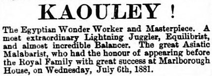 Kaouley - Bury Free Press (Suffolk) - 16 July 1881