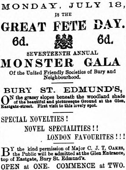 monster gala - Bury Free Press (Suffolk) - 16 July 1881