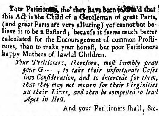to lead apes in hell - Harrop_s Manchester Mercury - 1 January 1754