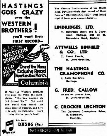 Western Brothers - The Old School Tie - Hastings & St. Leonards Observer - 7 July 1934