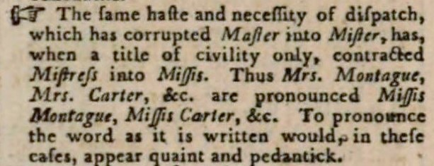 mistress-missis - A Critical Pronouncing Dictionary and Expositor of the English Language (1791)