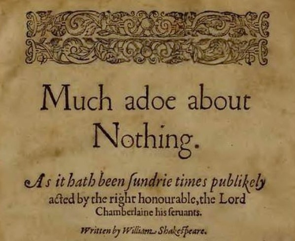 Much adoe about Nothing - Shakespeare - title page - Quarto 1, 1600
