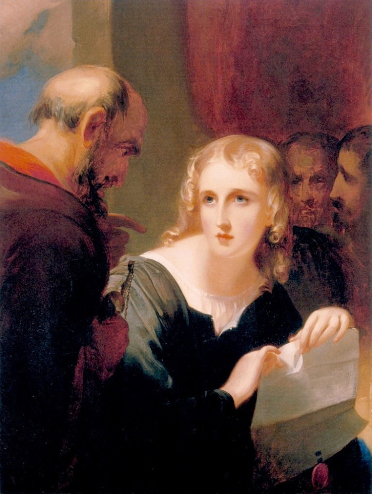 Portia and Shylock (1835), by Thomas Sully