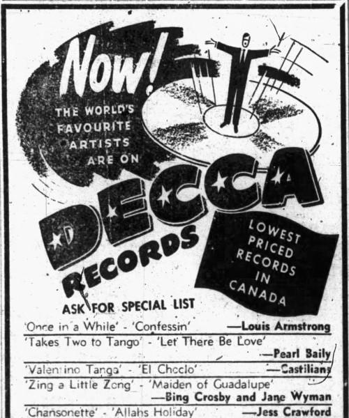 Takes Two to Tango (song) - Nanaimo Free Press - 5 September 1952