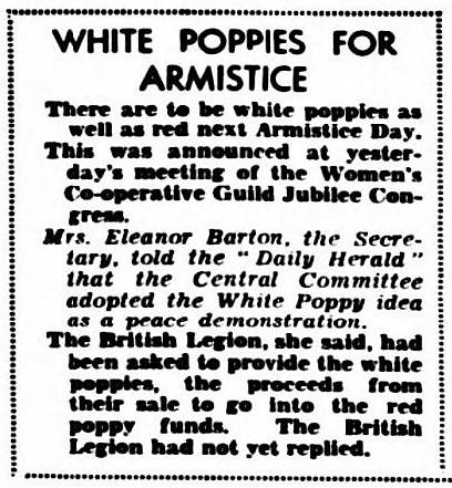 white poppy - Daily Herald (London) - 22 June 1933
