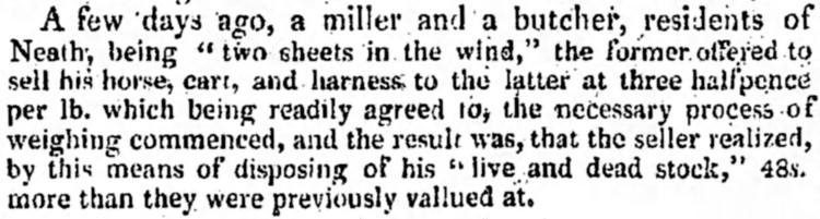 'two sheets in the wind' - Bristol Mercury (England) - 2 June 1823