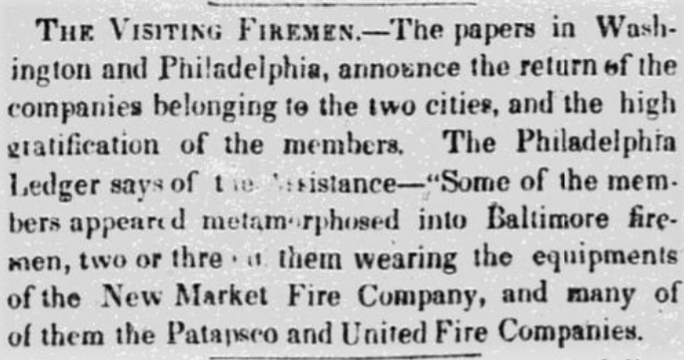 The Visiting Firemen - The Sun (Baltimore, Maryland) - 26 November 1838