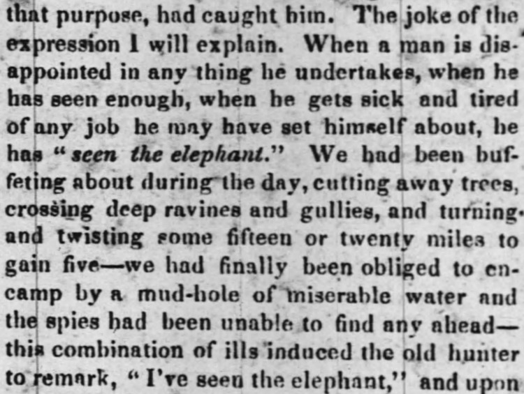 to have seen the elephant - Daily Picayune (New Orleans) - 26 June 1842