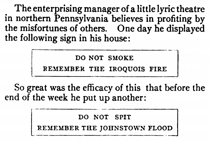 'don't spit, remember the Johnstown flood' - Everybody's Magazine (New York) - July 1908