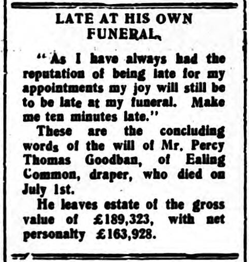 'late at his own funeral' - The Daily Echo (Northampton, Northamptonshire, England) - 8 September 1928