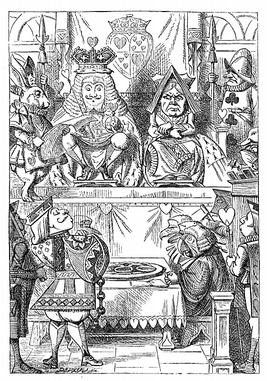 'Alice's Adventures in Wonderland' (1866 edition) - the trial of the Knave of Hearts - illustration by John Tenniel