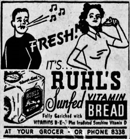 advertisement for Ruhl's Sunfed Vitamin Bread - Harrisburg Telegraph (Pennsylvania) - 2 November 1943