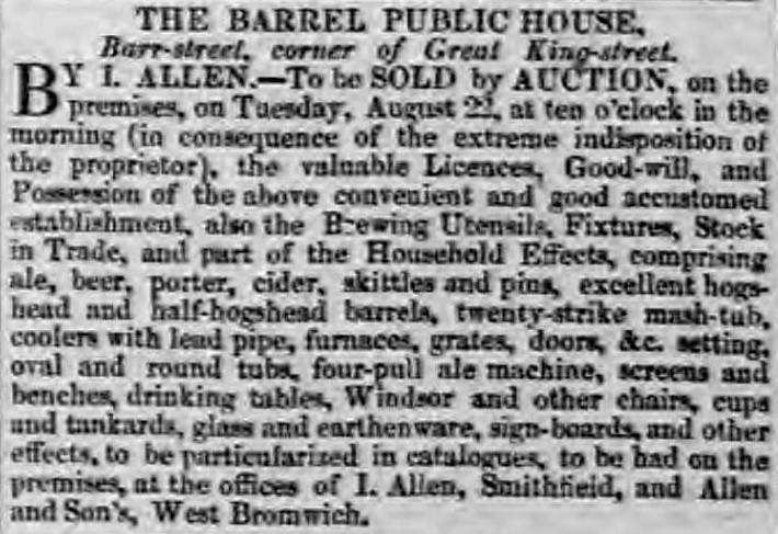 beer and skittles' - announcement from Aris's Birmingham Gazette (Birmingham, Warwickshire) - 14 August 1837