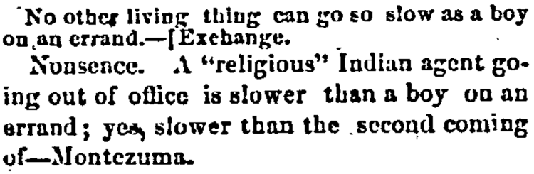 'slower than the second coming' - Weekly Arizona Miner (Prescott, Arizona) - 13 March 1874