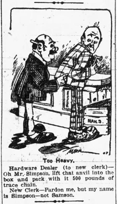 my name is Simpson, not Samson' - Camden Post-Telegram (Camden, New Jersey) - 10 October 1907
