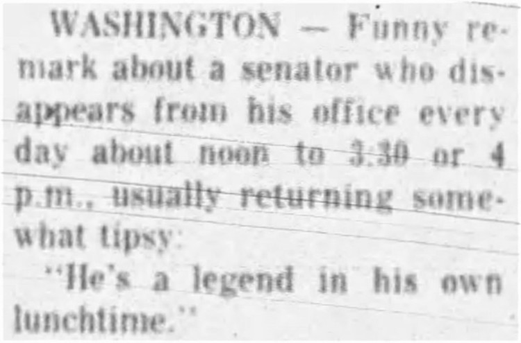 a legend in his own lunchtime' - Springfield Daily News (Missouri) - 14 February 1973