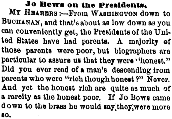 'to come (right) down to the brass' - Cleveland Plain Dealer (Cleveland, Ohio) - 5 March 1861