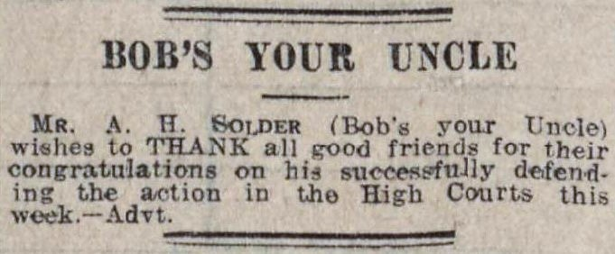'bob's your uncle' - Essex Newsman (Chelmsford) - 3 March 1928