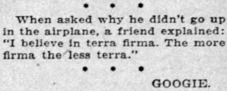 'the more firma, the less terra' - Ithaca Journal (Ithaca, New York) - 16 August 1926