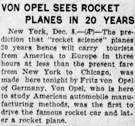 rocket science - Minneapolis Tribune - 9 December 1930