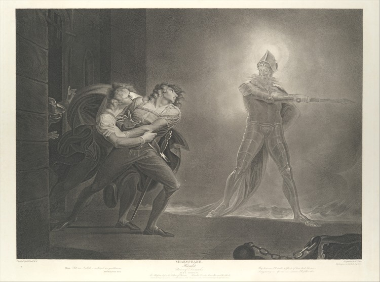Hamlet, Horatio, Marcellus and the Ghost (1796) - Robert Thew, after Henry Fuseli