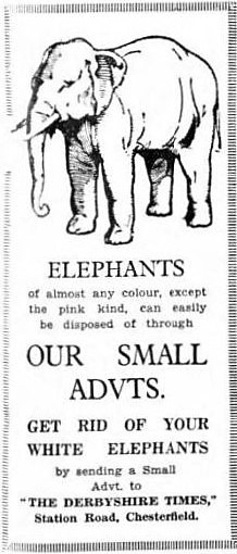 white elephant - Derbyshire Times - 30 September 1933