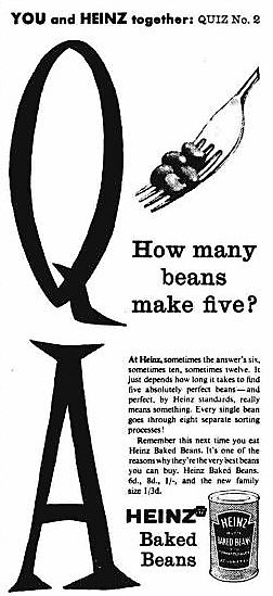 how many beans make five' – Heinz Baked Beans – Daily Herald (London) – 7 August 1958