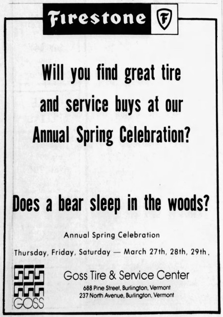 'does a bear sleep in the woods' - The Burlington Free Press (Burlington, Vermont) - 24 March 1975