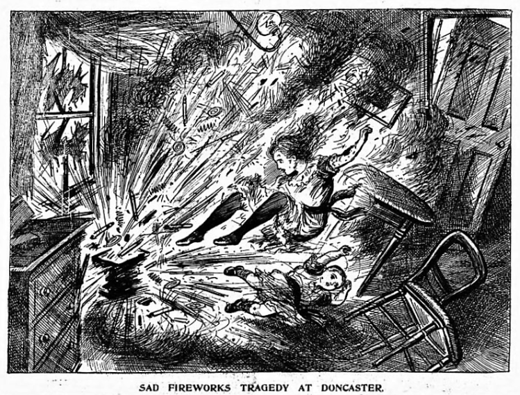 Sad Fireworks Tragedy at Doncaster - The Illustrated Police News (London, England) - 6 November 1913